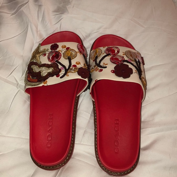 fe0c4c20 Coach Sport Slides with Cherry Patches